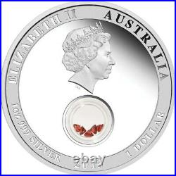 Treasures Of The World Europe 2013 1oz Silver Proof Locket Coin With Garnet