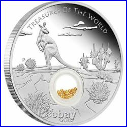 Treasures of the World Australia 2014 1oz Silver Proof Locket Coin with Gold