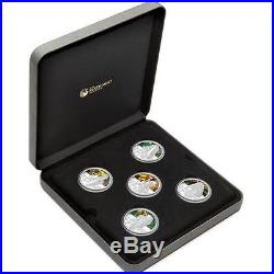 Tuvalu 2010 $1 Tanks of World War 2 WWII 5 x 1 Oz Silver Proof Coin Set