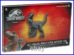 VELOCIRAPTOR Jurassic World 2 oz Silver Shaped $5 Coin 2021 Niue