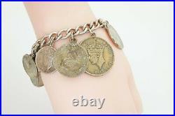 Vintage 30s 40s Africa Swiss Shilling Sterling Silver World Coin Bracelet 7.75