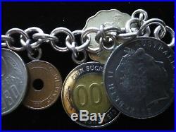 Vintage International World Coins Bracelet 925 Sterling Silver
