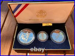 WORLD CUP USA 1994 Commemorative 3-COIN Set GOLD & SILVER Missing COA