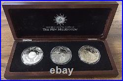 WORLD'S 1st MILLENNIUM PROOF COINS of KIRIBATI in HINGED BOX SET of 3 DIFFERENT