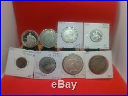 World Silver Coin Lot-1840 Rupee, 1837 & 1875 5 Francs, 1 1/2 pence Newfoundland