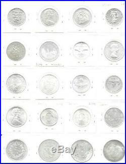 World Silver Coins 1944-73 Assorted 20 Half Crown-Crown Size Most BU/Proof Shown