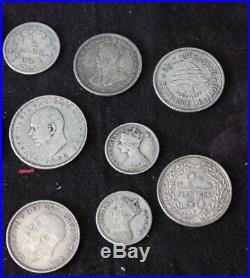 World Silver coin lot 15 coins Great Britain Hong Kong Mexico Lebanon Australia