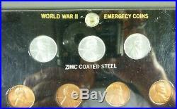 World War II Emergency Coins Set Capital Plastics Holder BU Cent & Silver Nickel