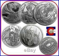 World of Dragons 5 BU Silver Rounds Aztec, Welsh, Chinese, Norse, & Indian