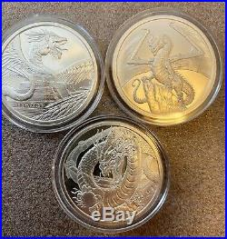 World of Dragons 6 BU Silver Rounds Aztec Welsh Chinese Norse Indian Egyptian