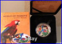 World of Parrots Scarlet Macaw fine 99.9% coloured silver 3D coin