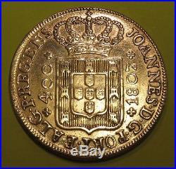 (world Silver Coin Sale-1807 400 Reis Portuguese Piece)